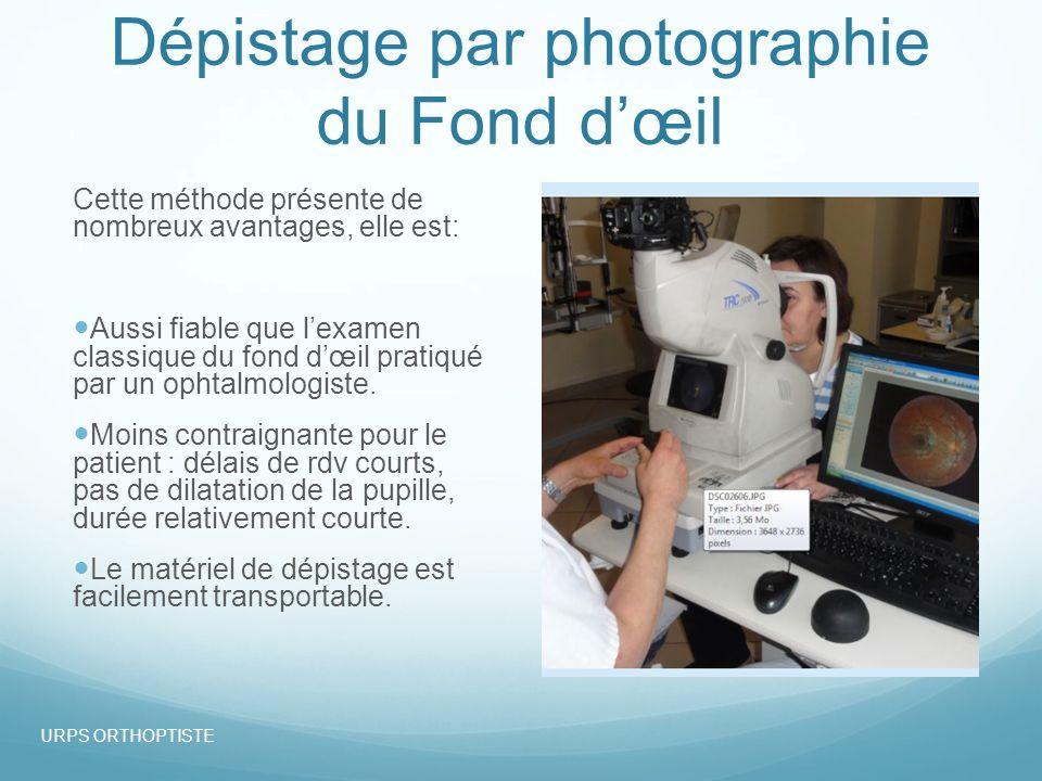 Dépistage par photographie du Fond dœil Cette méthode présente de nombreux avantages, elle est: Aussi fiable que lexamen classique du fond dœil pratiqué par un ophtalmologiste.