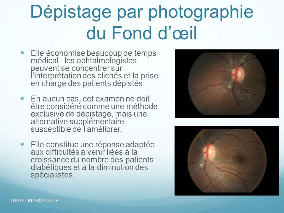 Dépistage par photographie du Fond dœil Elle économise beaucoup de temps médical : les ophtalmologistes peuvent se concentrer sur linterprétation des clichés et la prise en charge des patients dépistés.