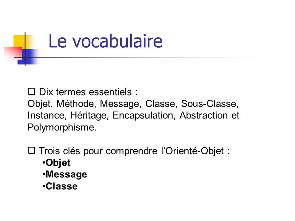 Dix termes essentiels : Objet, Méthode, Message, Classe, Sous-Classe, Instance, Héritage, Encapsulation, Abstraction et Polymorphisme. Trois clés pour