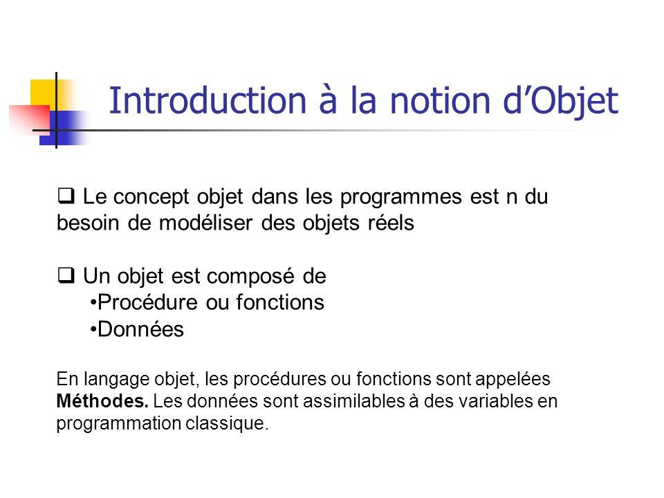 Le concept objet dans les programmes est n du besoin de modéliser des objets réels Un objet est composé de Procédure ou fonctions Données En langage objet, les procédures ou fonctions sont appelées Méthodes.