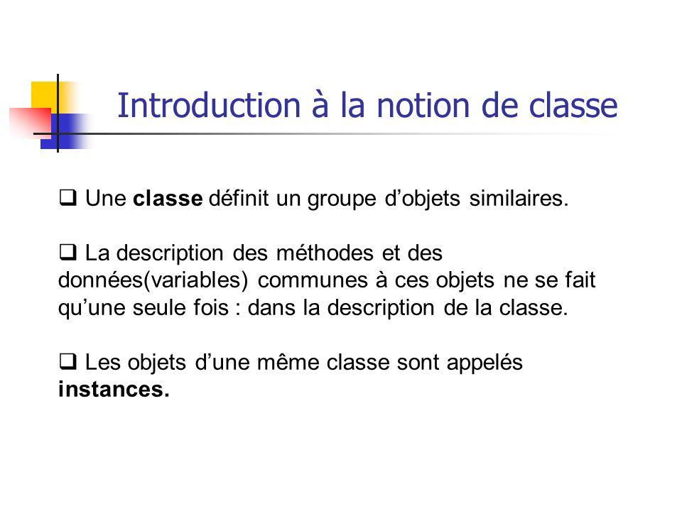 Une classe définit un groupe dobjets similaires. La description des méthodes et des données(variables) communes à ces objets ne se fait quune seule fo
