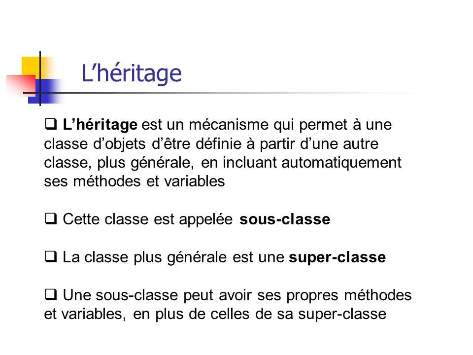 Lhéritage est un mécanisme qui permet à une classe dobjets dêtre définie à partir dune autre classe, plus générale, en incluant automatiquement ses méthodes et variables Cette classe est appelée sous-classe La classe plus générale est une super-classe Une sous-classe peut avoir ses propres méthodes et variables, en plus de celles de sa super-classe Lhéritage