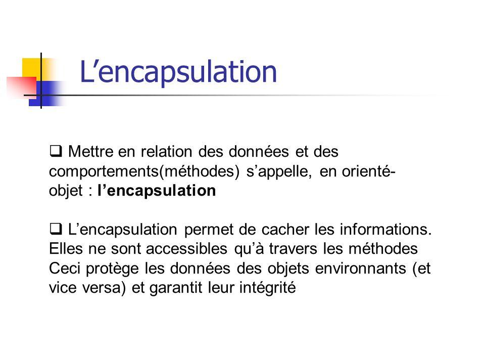 Mettre en relation des données et des comportements(méthodes) sappelle, en orienté- objet : lencapsulation Lencapsulation permet de cacher les informations.