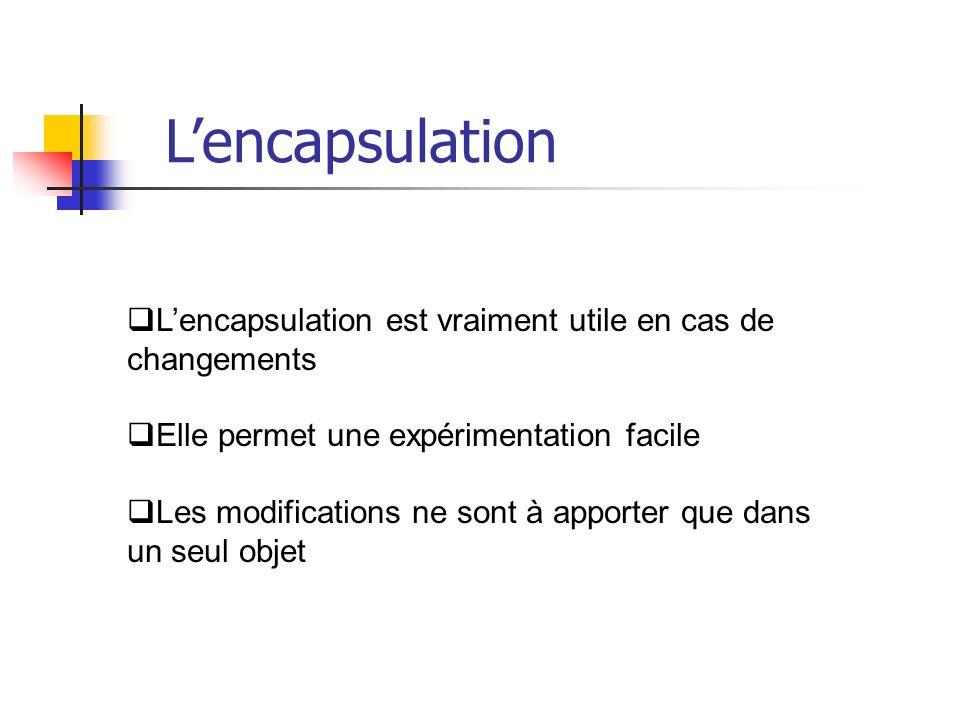 Lencapsulation est vraiment utile en cas de changements Elle permet une expérimentation facile Les modifications ne sont à apporter que dans un seul objet Lencapsulation