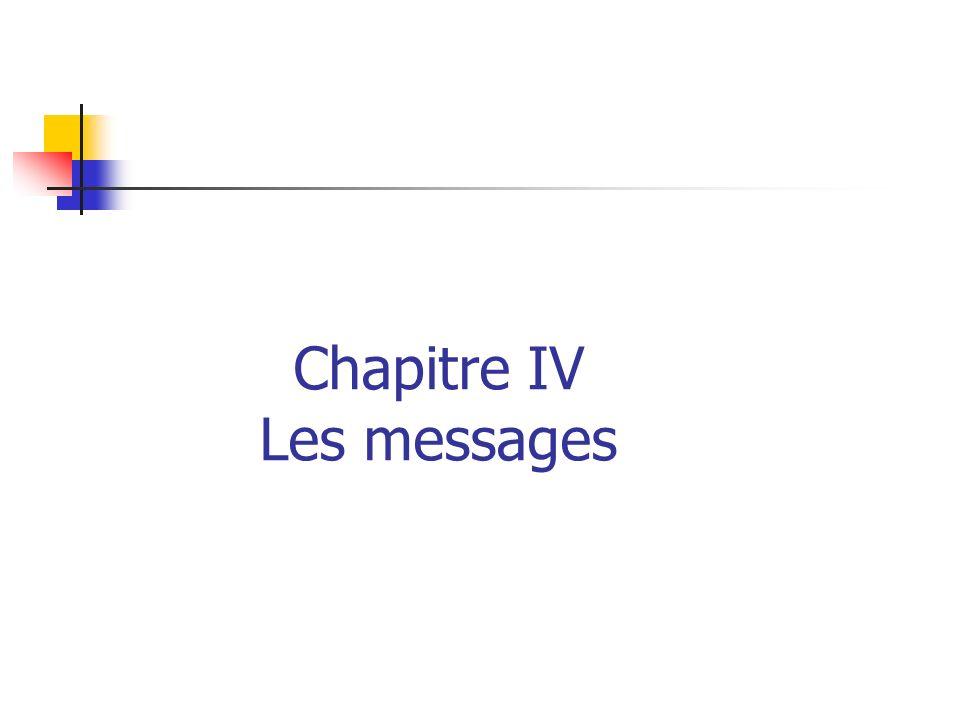 Chapitre IV Les messages