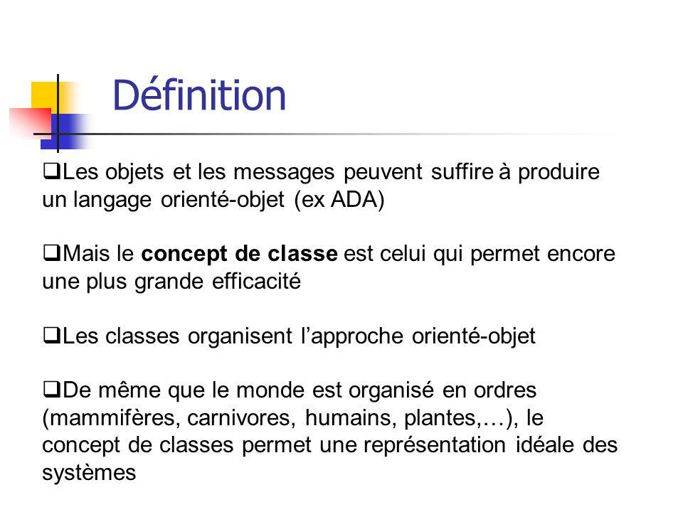 Les objets et les messages peuvent suffire à produire un langage orienté-objet (ex ADA) Mais le concept de classe est celui qui permet encore une plus