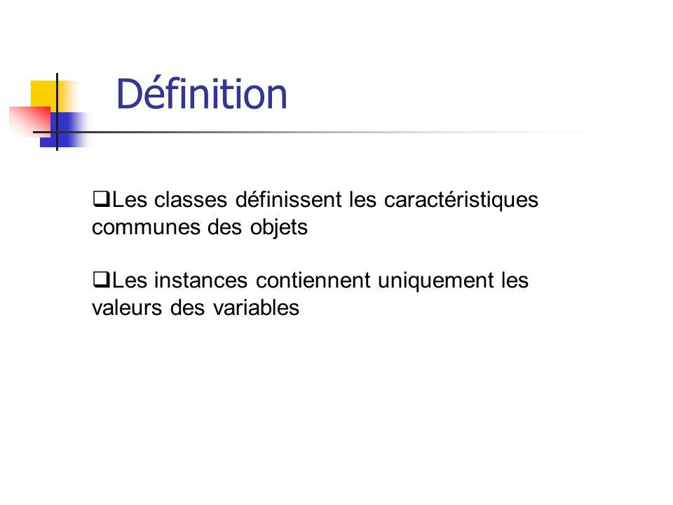 Les classes définissent les caractéristiques communes des objets Les instances contiennent uniquement les valeurs des variables Définition
