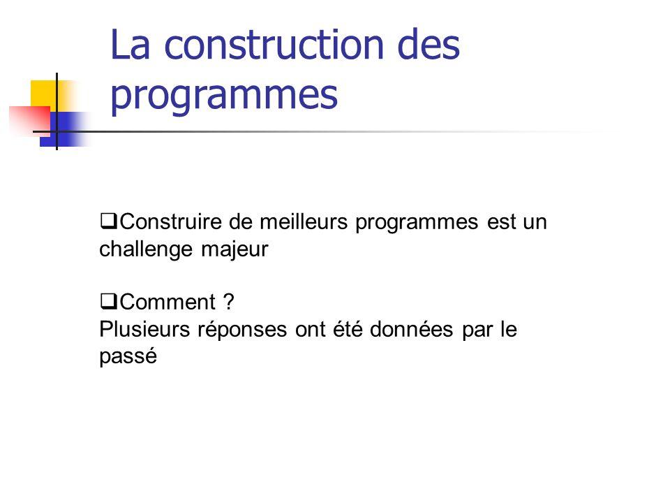 Construire de meilleurs programmes est un challenge majeur Comment ? Plusieurs réponses ont été données par le passé La construction des programmes