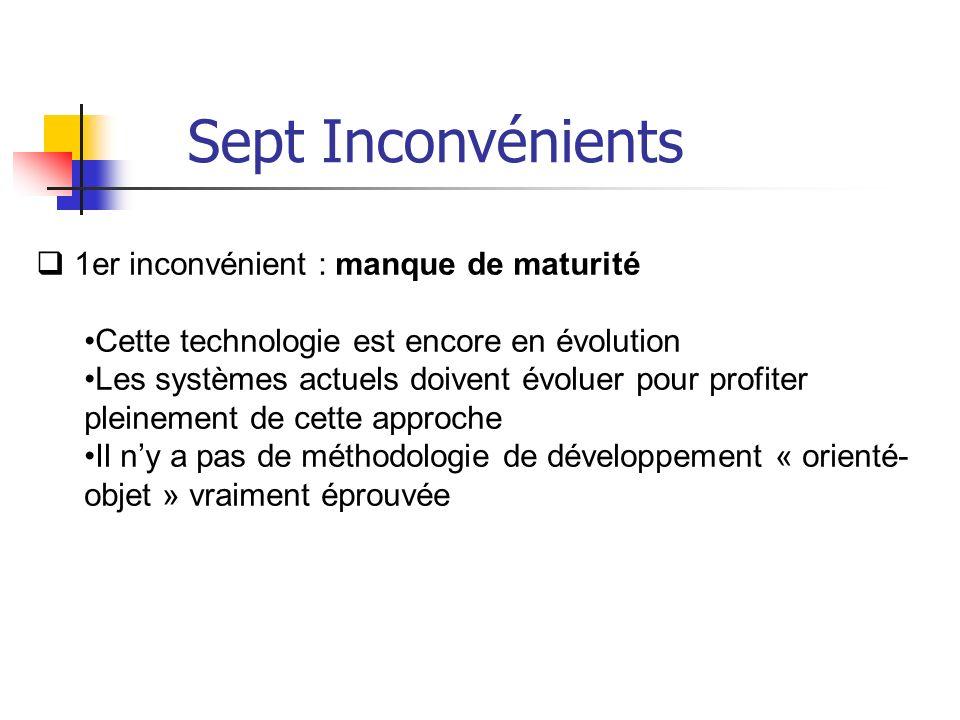 1er inconvénient : manque de maturité Cette technologie est encore en évolution Les systèmes actuels doivent évoluer pour profiter pleinement de cette approche Il ny a pas de méthodologie de développement « orienté- objet » vraiment éprouvée Sept Inconvénients