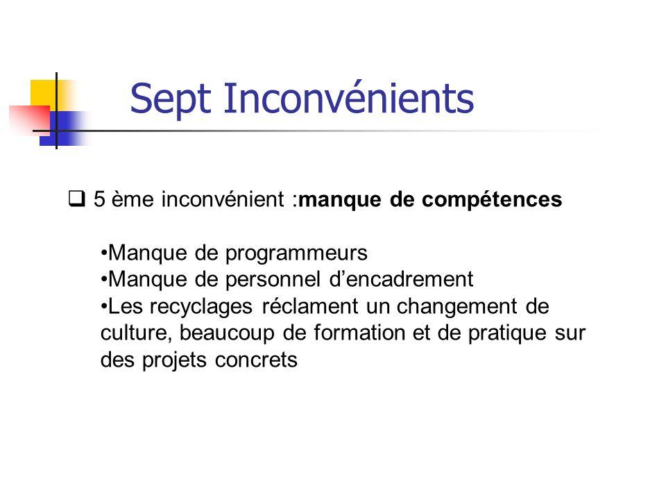 5 ème inconvénient :manque de compétences Manque de programmeurs Manque de personnel dencadrement Les recyclages réclament un changement de culture, b
