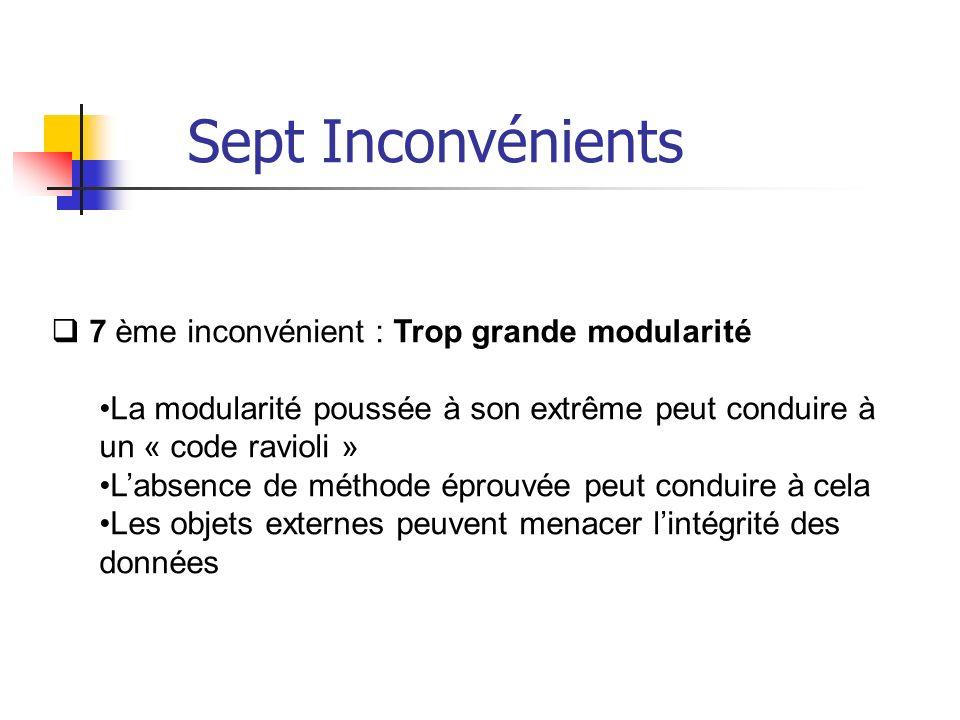7 ème inconvénient : Trop grande modularité La modularité poussée à son extrême peut conduire à un « code ravioli » Labsence de méthode éprouvée peut