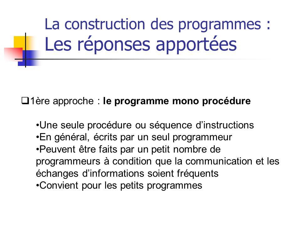 1ère approche : le programme mono procédure Une seule procédure ou séquence dinstructions En général, écrits par un seul programmeur Peuvent être fait