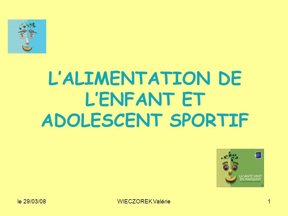 le 29/03/08WIECZOREK Valérie1 LALIMENTATION DE LENFANT ET ADOLESCENT SPORTIF