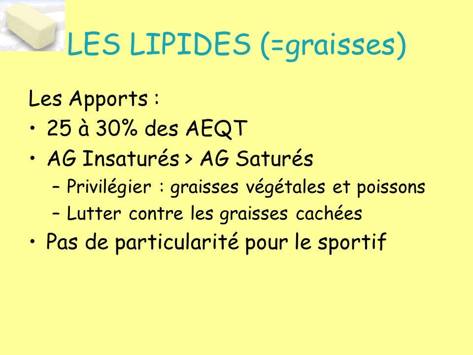LES LIPIDES (=graisses) Les Apports : 25 à 30% des AEQT AG Insaturés > AG Saturés –Privilégier : graisses végétales et poissons –Lutter contre les gra