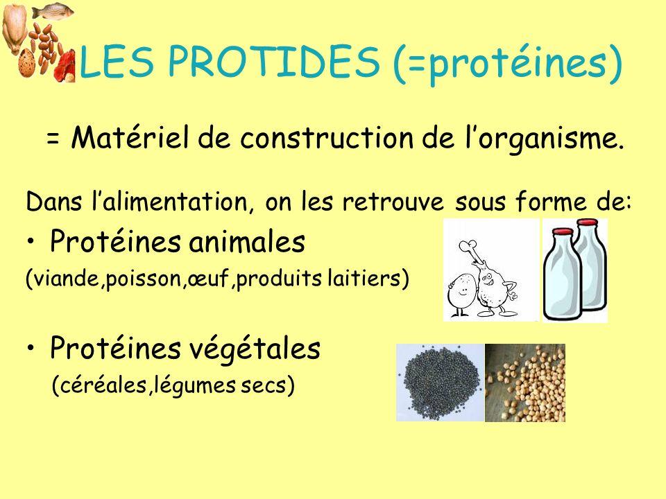 LES PROTIDES (=protéines) = Matériel de construction de lorganisme. Dans lalimentation, on les retrouve sous forme de: Protéines animales (viande,pois