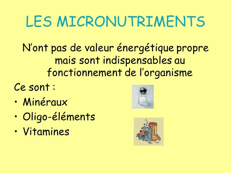 LES MICRONUTRIMENTS Nont pas de valeur énergétique propre mais sont indispensables au fonctionnement de lorganisme Ce sont : Minéraux Oligo-éléments V