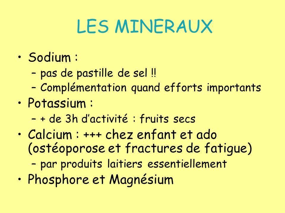 LES MINERAUX Sodium : –pas de pastille de sel !! –Complémentation quand efforts importants Potassium : –+ de 3h dactivité : fruits secs Calcium : +++
