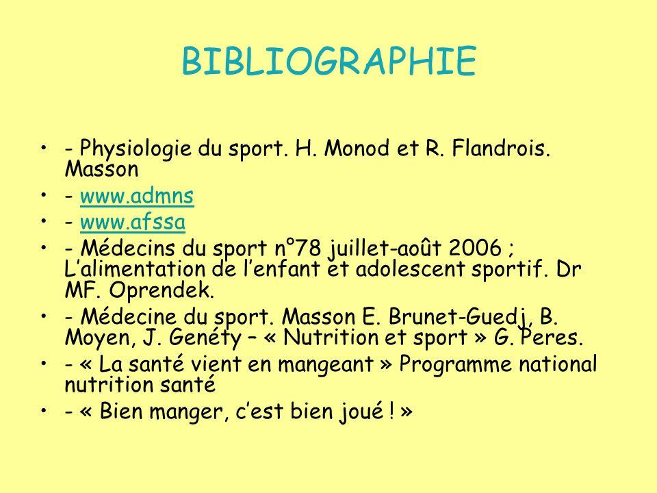 BIBLIOGRAPHIE - Physiologie du sport. H. Monod et R. Flandrois. Masson - www.admnswww.admns - www.afssawww.afssa - Médecins du sport n°78 juillet-août