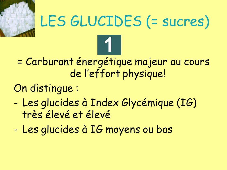 LES GLUCIDES (= sucres) = Carburant énergétique majeur au cours de leffort physique! On distingue : -Les glucides à Index Glycémique (IG) très élevé e