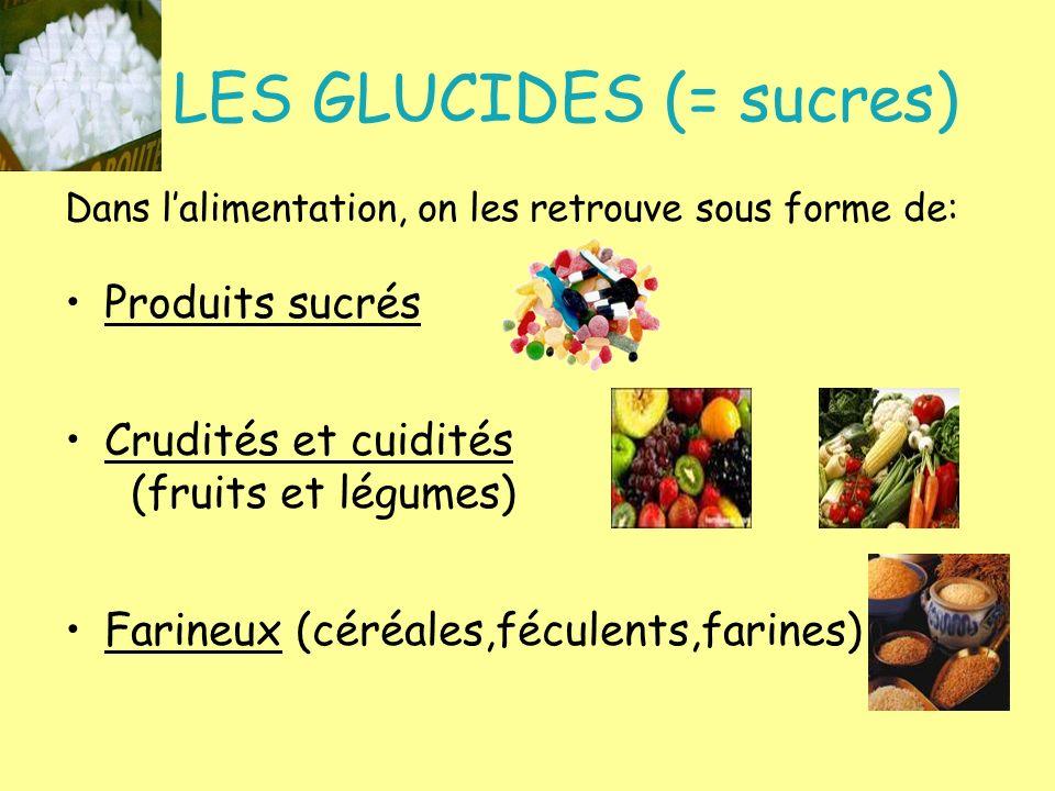 LES GLUCIDES (= sucres) Dans lalimentation, on les retrouve sous forme de: Produits sucrés Crudités et cuidités (fruits et légumes) Farineux (céréales