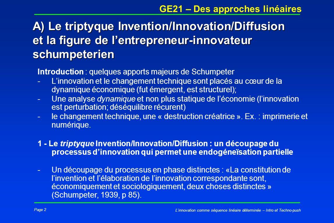 Page 2 GE21 – Des approches linéaires Linnovation comme séquence linéaire déterminée – Intro et Techno-push A) Le triptyque Invention/Innovation/Diffu