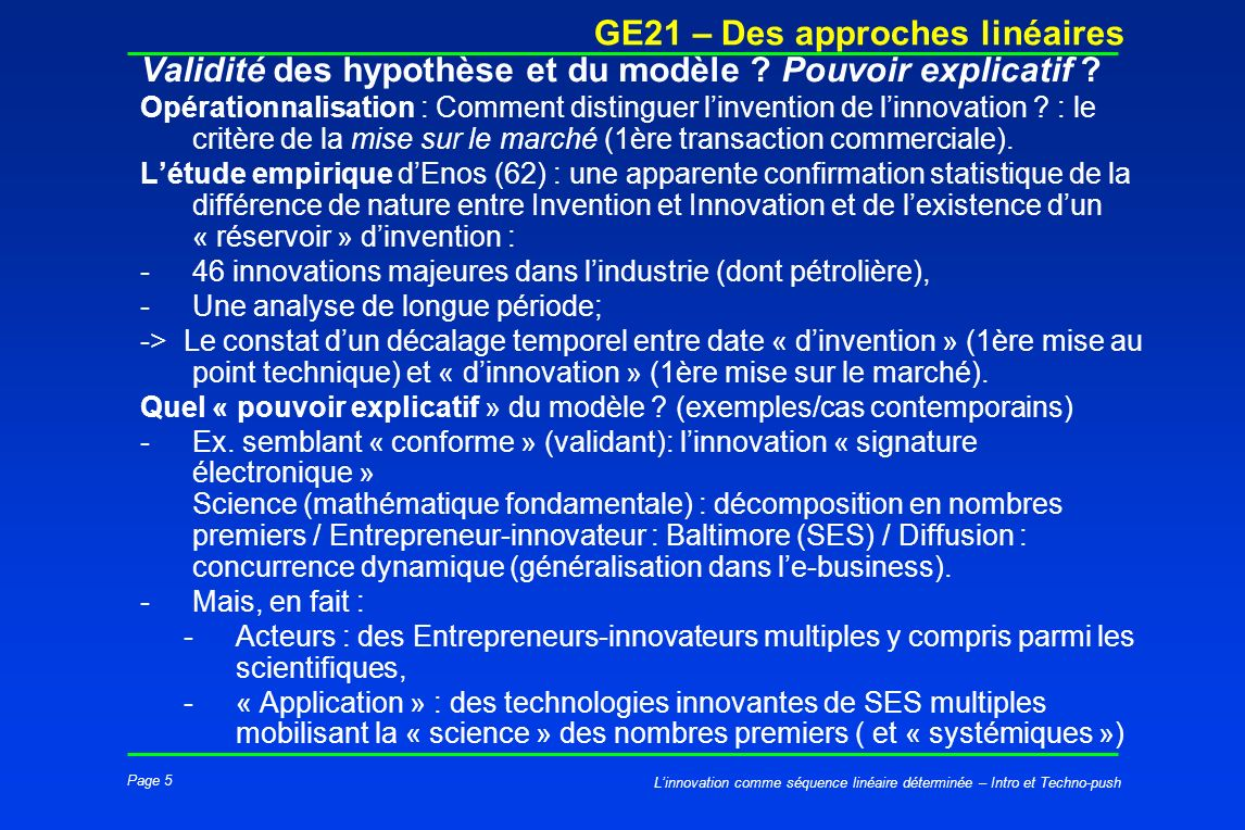 Page 5 GE21 – Des approches linéaires Linnovation comme séquence linéaire déterminée – Intro et Techno-push Validité des hypothèse et du modèle ? Pouv