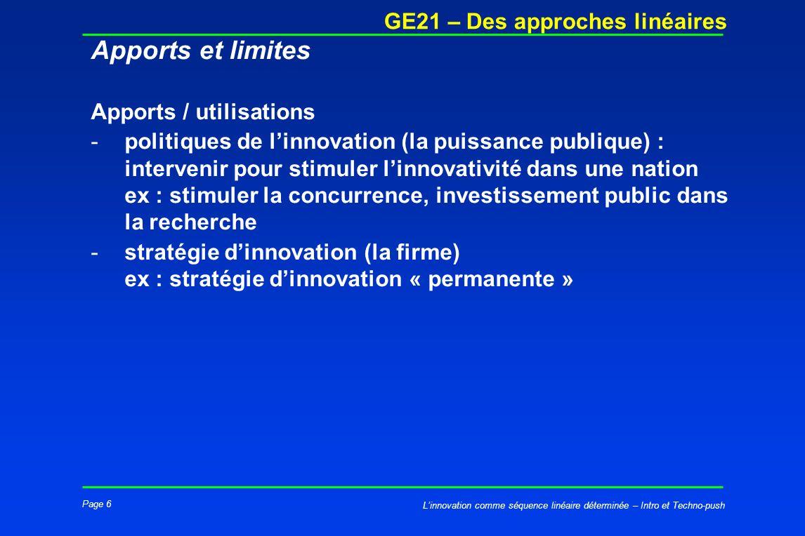 Page 6 GE21 – Des approches linéaires Linnovation comme séquence linéaire déterminée – Intro et Techno-push Apports et limites Apports / utilisations
