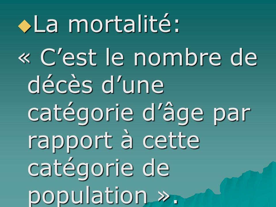 La mortalité: La mortalité: « Cest le nombre de décès dune catégorie dâge par rapport à cette catégorie de population ».