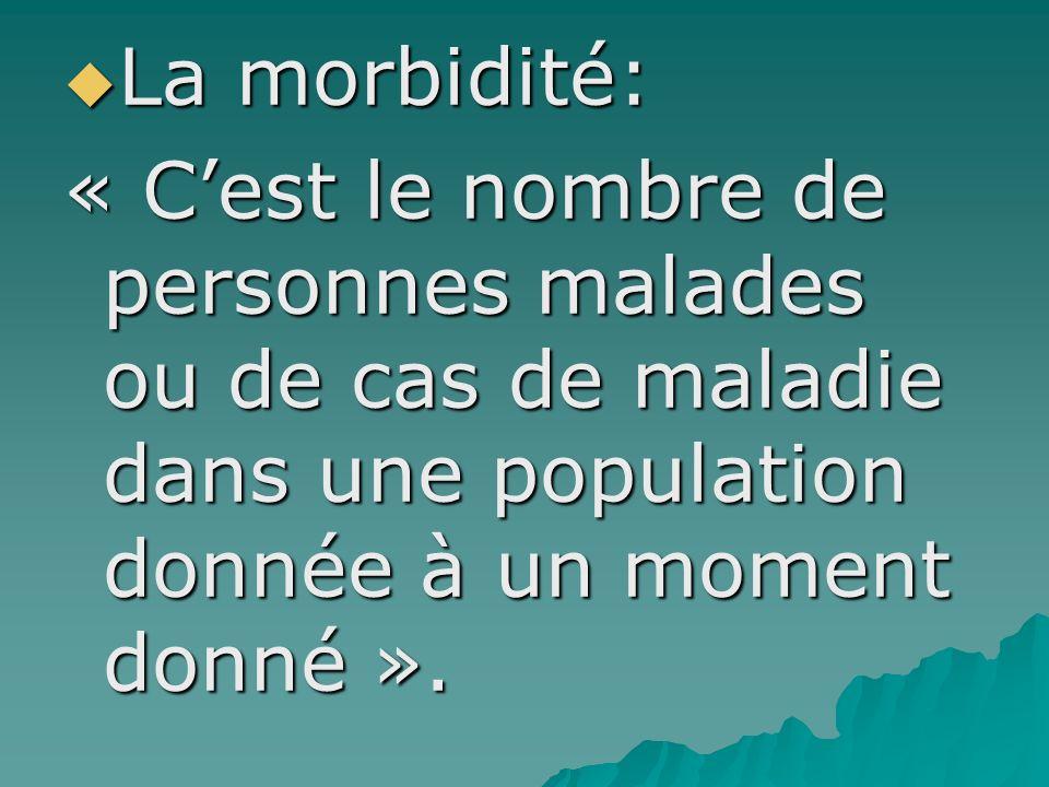 La morbidité: La morbidité: « Cest le nombre de personnes malades ou de cas de maladie dans une population donnée à un moment donné ».