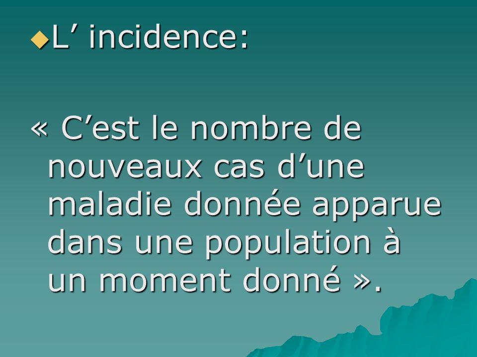 L incidence: L incidence: « Cest le nombre de nouveaux cas dune maladie donnée apparue dans une population à un moment donné ».