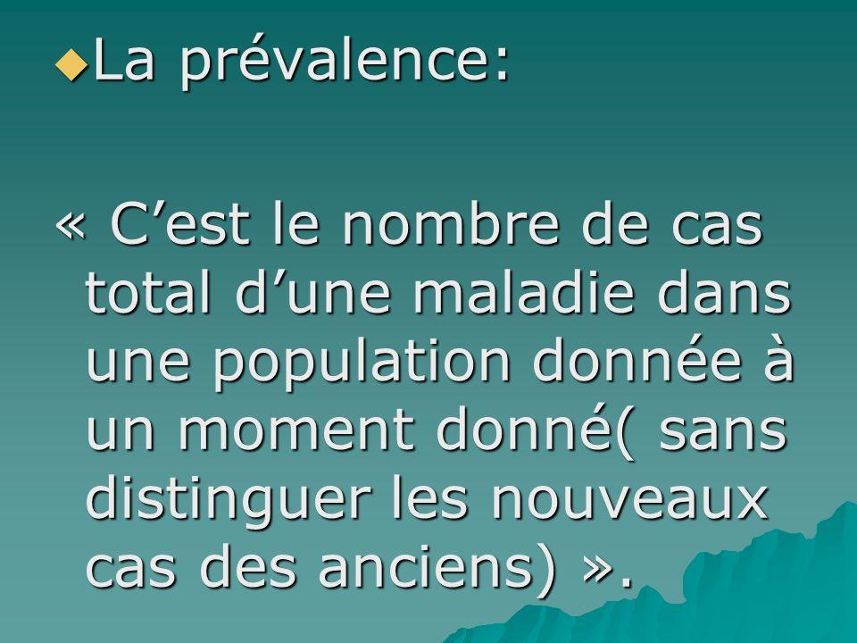La prévalence: La prévalence: « Cest le nombre de cas total dune maladie dans une population donnée à un moment donné( sans distinguer les nouveaux ca