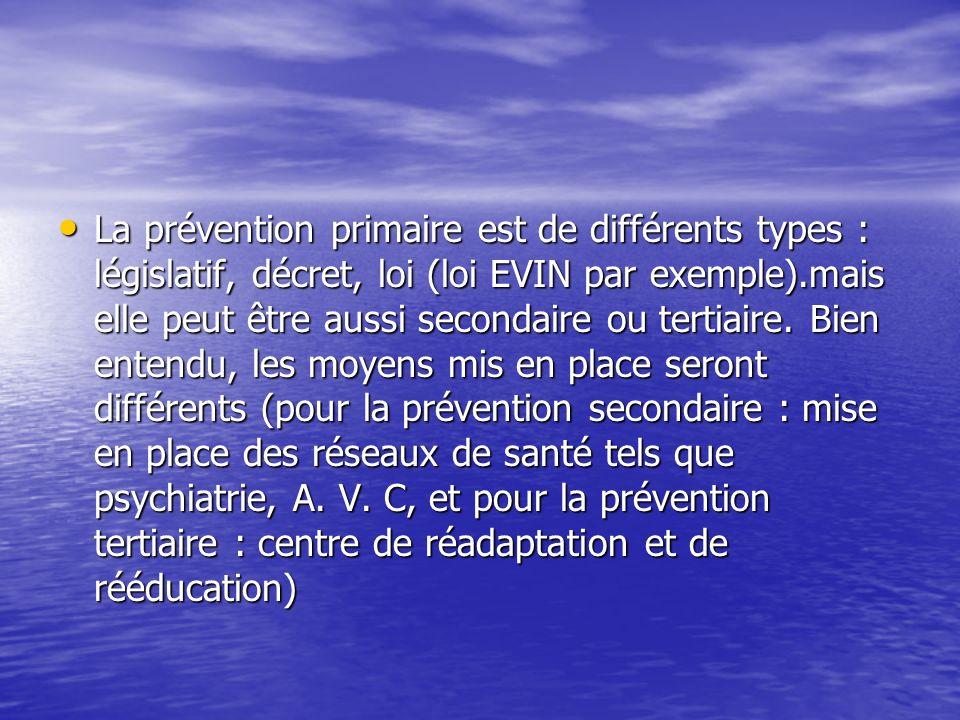 La prévention primaire est de différents types : législatif, décret, loi (loi EVIN par exemple).mais elle peut être aussi secondaire ou tertiaire. Bie