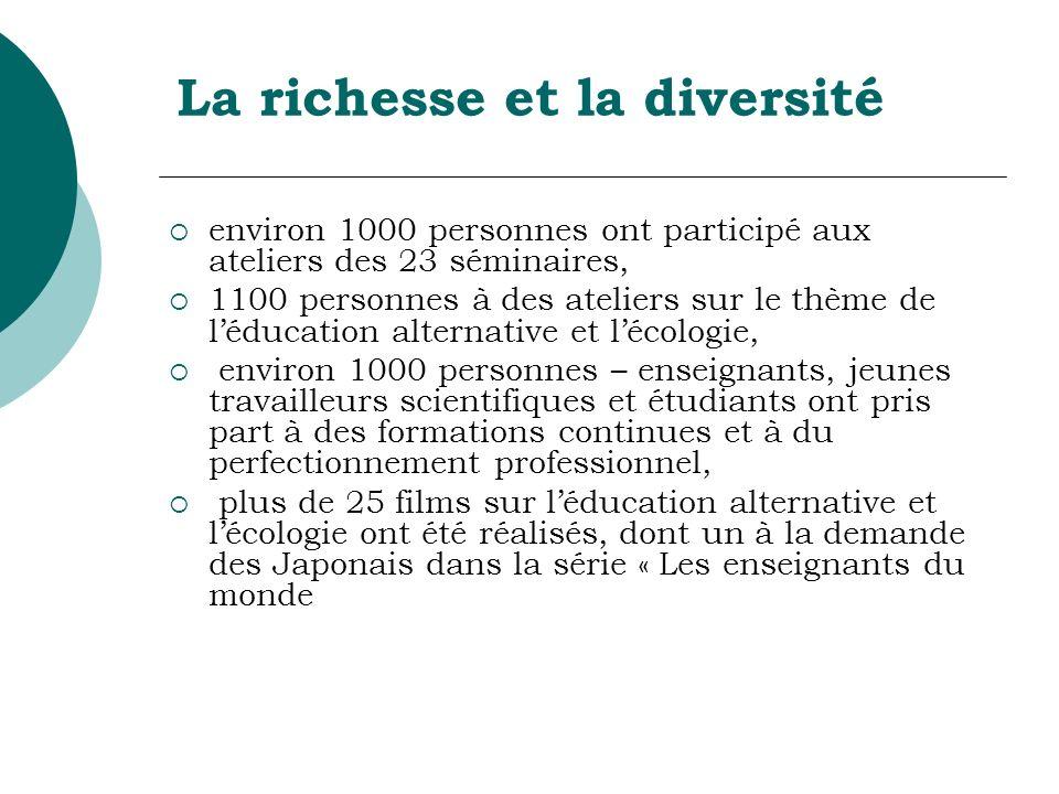 La richesse et la diversité environ 1000 personnes ont participé aux ateliers des 23 séminaires, 1100 personnes à des ateliers sur le thème de léducat