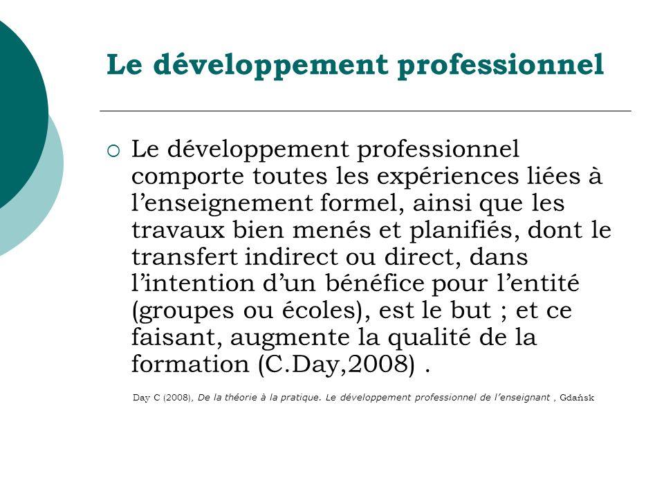 Le développement professionnel Le développement professionnel comporte toutes les expériences liées à lenseignement formel, ainsi que les travaux bien menés et planifiés, dont le transfert indirect ou direct, dans lintention dun bénéfice pour lentité (groupes ou écoles), est le but ; et ce faisant, augmente la qualité de la formation (C.Day,2008).