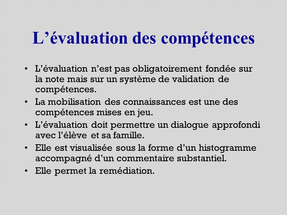 Lévaluation des compétences Lévaluation nest pas obligatoirement fondée sur la note mais sur un système de validation de compétences. La mobilisation