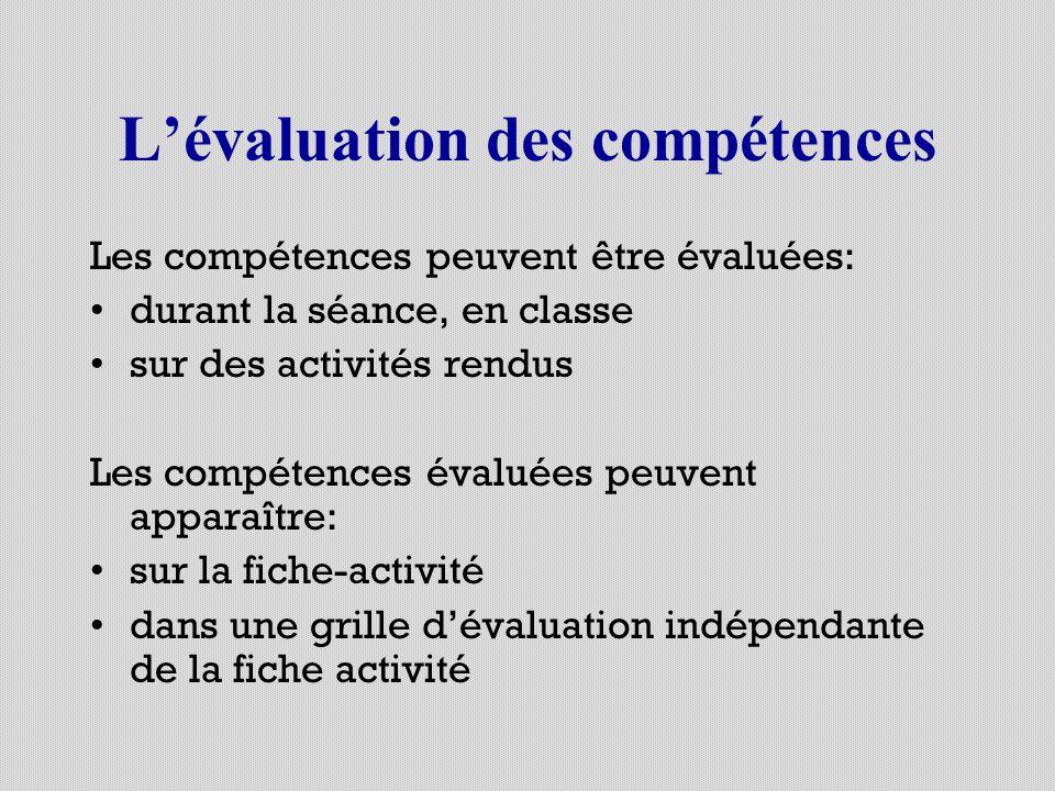 Lévaluation des compétences Les compétences peuvent être évaluées: durant la séance, en classe sur des activités rendus Les compétences évaluées peuve