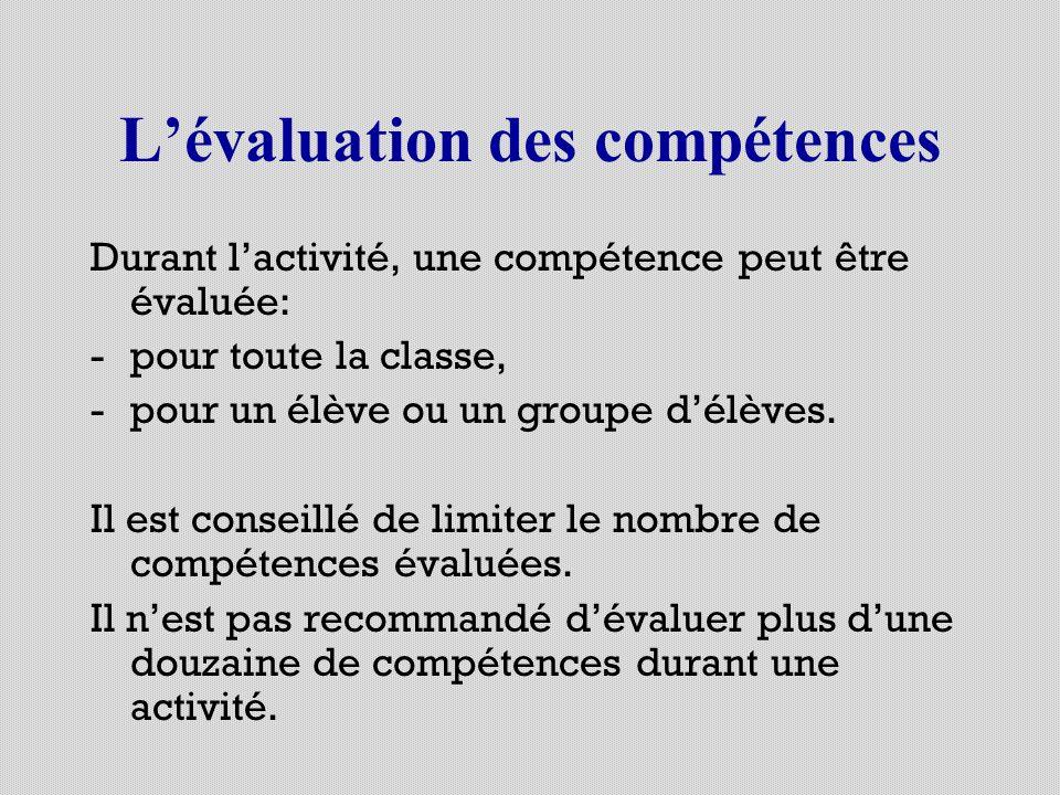 Lévaluation des compétences Durant lactivité, une compétence peut être évaluée: -pour toute la classe, -pour un élève ou un groupe délèves. Il est con