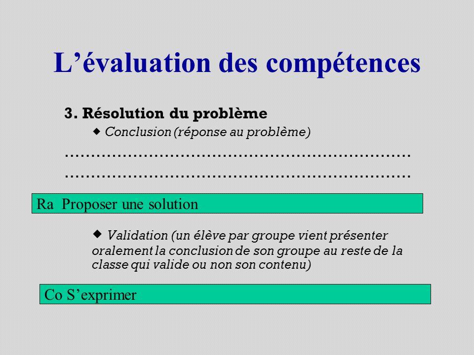 Lévaluation des compétences 3. Résolution du problème Conclusion (réponse au problème) ………………………………………………………… Validation (un élève par groupe vient pr