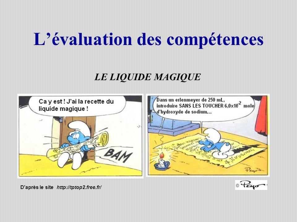 Lévaluation des compétences LE LIQUIDE MAGIQUE D'après le site http://tptop2.free.fr/