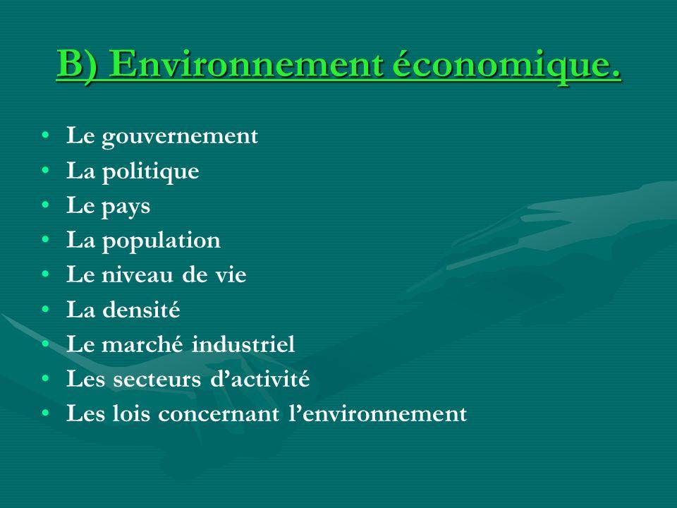 B) Environnement économique. Le gouvernement La politique Le pays La population Le niveau de vie La densité Le marché industriel Les secteurs dactivit