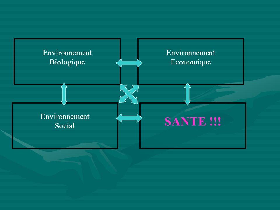 Environnement Economique Environnement Biologique Environnement Social SANTE !!!