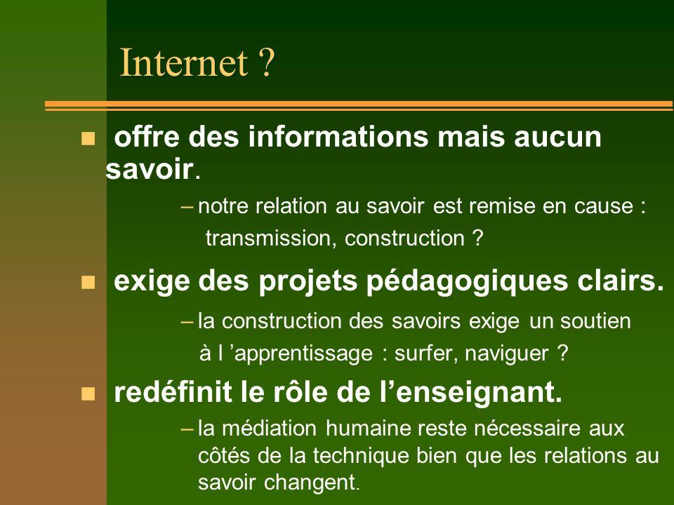 Internet ? n Un moyen de communication –lordinateur comme outil individuel, –le réseau de réseaux comme ouverture relationnelle n Un vecteur de travai