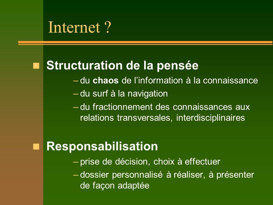 Internet ? n offre des informations mais aucun savoir. –notre relation au savoir est remise en cause : transmission, construction ? n exige des projet