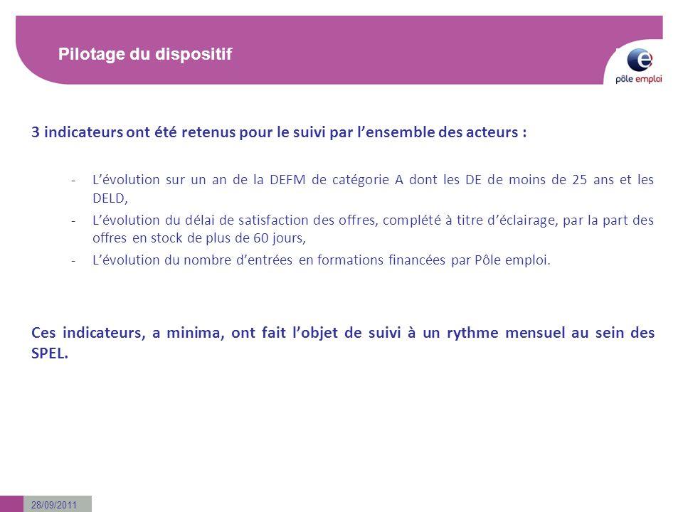 28/09/2011 Pilotage du dispositif 3 indicateurs ont été retenus pour le suivi par lensemble des acteurs : -Lévolution sur un an de la DEFM de catégori