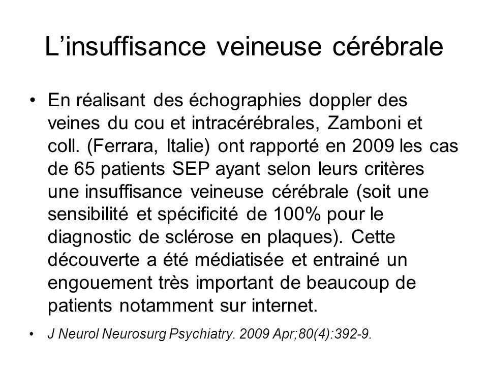 Linsuffisance veineuse cérébrale En réalisant des échographies doppler des veines du cou et intracérébrales, Zamboni et coll. (Ferrara, Italie) ont ra