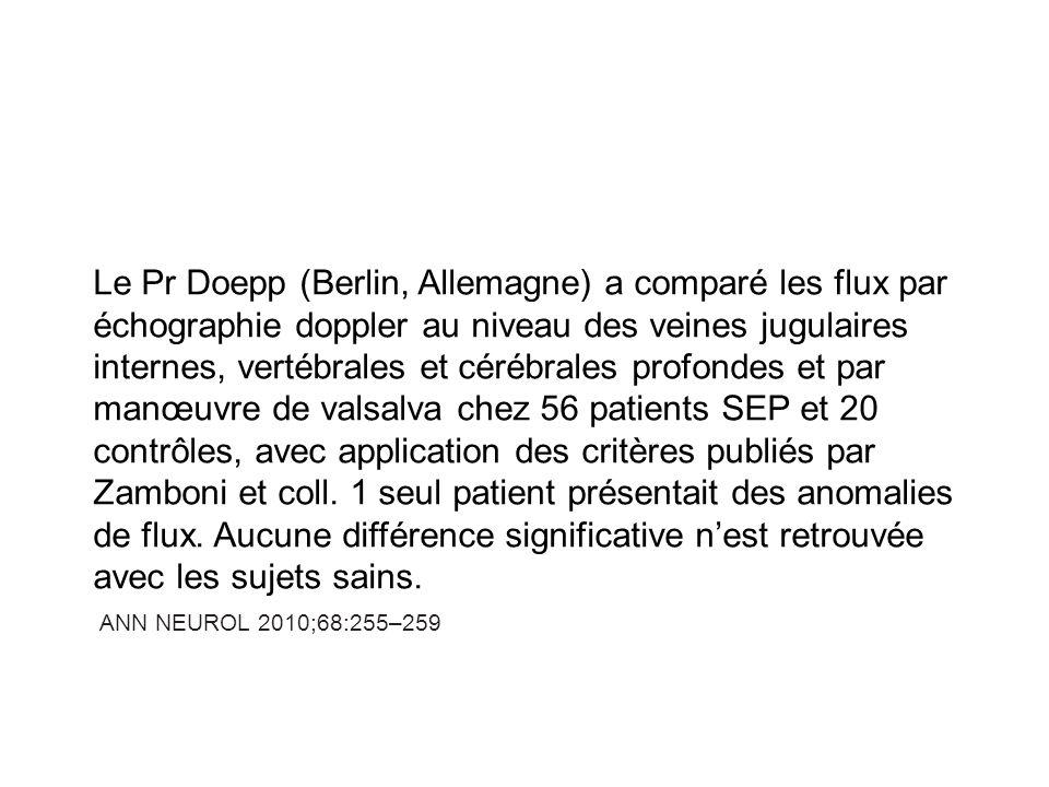 Le Dr Barrachini (Padoue, Italie) n a pas retrouvé non plus de rétrécissement ou de troubles de flux veineux par écho-doppler et par angiographie veineuse cérébrale par produit de contraste chez les patients SEP.