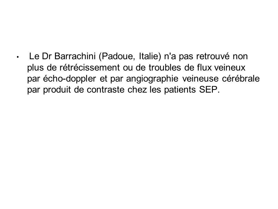 Le Dr Barrachini (Padoue, Italie) n'a pas retrouvé non plus de rétrécissement ou de troubles de flux veineux par écho-doppler et par angiographie vein