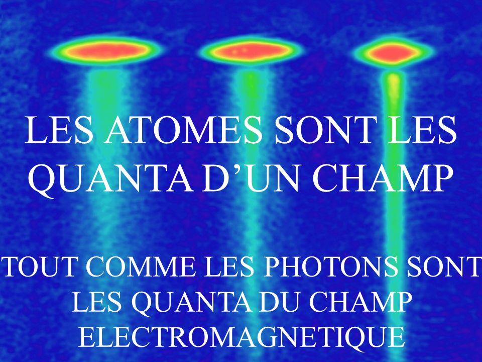 LES ATOMES SONT LES QUANTA DUN CHAMP TOUT COMME LES PHOTONS SONT LES QUANTA DU CHAMP ELECTROMAGNETIQUE