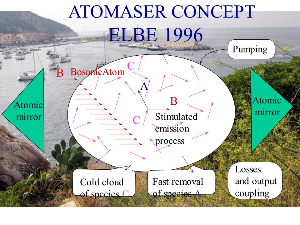 ELBE 1996 ATOMASER CONCEPT Cold cloud of species C C B A B C Fast removal of species A Atomic mirror Losses and output coupling Pumping Stimulated emi
