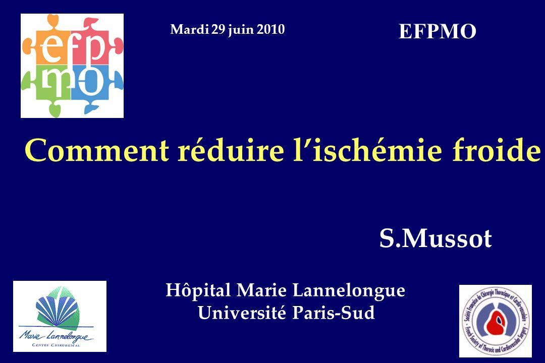 Comment réduire lischémie froide S.Mussot Hôpital Marie Lannelongue Université Paris-Sud Mardi 29 juin 2010 EFPMO